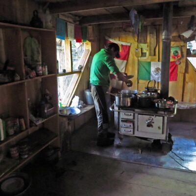 Cooking in De Agostini Hut.