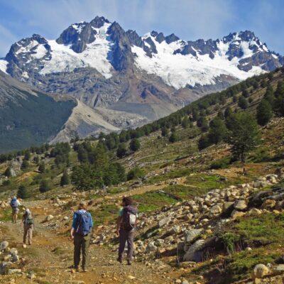 Hiking towards Fundo San Lorenzo with the majestic view of the massif.