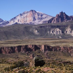Roballos Crossing into Argentina connecting both Patagonia National Parks. Mount Zeballos —center background— and Lake Buenos Aires' Plateau on the right.
