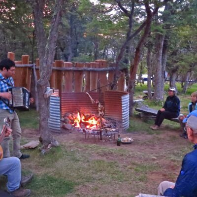 Welcome party with local music played by the Soto family, and Asado a la cruz - Patagonian lamb - in Fundo San Lorenzo.