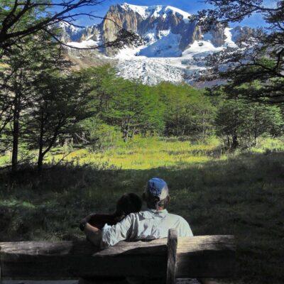Relaxing with the astonishing scenery of Mt. San Lorenzo.
